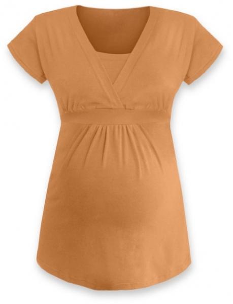 Dojčiaca tehotenská tunika ANIČKA krátky rukáv - sv. oranžová