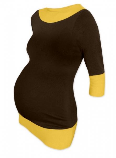 Tehotenská tunika dvojfarebná - čokohnědá-žltooranžová