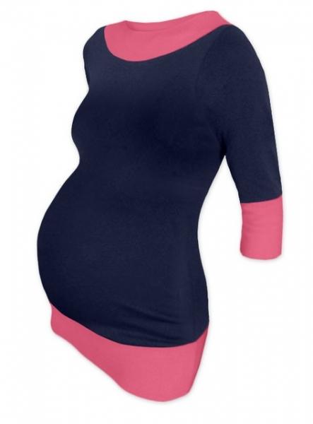 Tehotenská tunika dvojfarebná - tm. modrá-ružová