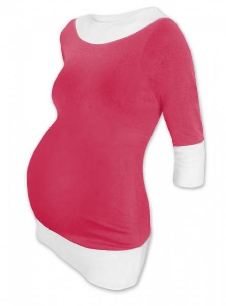 Tehotenská tunika DUO - ružová-biela