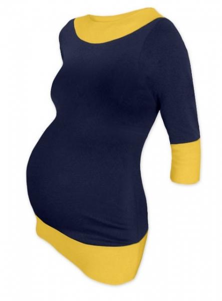 Tehotenská tunika DUO - tm.modrá-žltá
