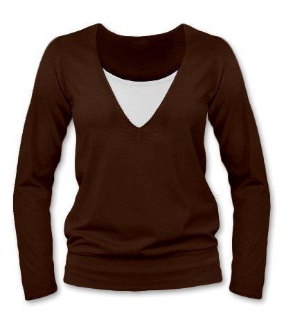 Dojčiace, tehotenské tričko Julie dl. rukáv - čokohnedá