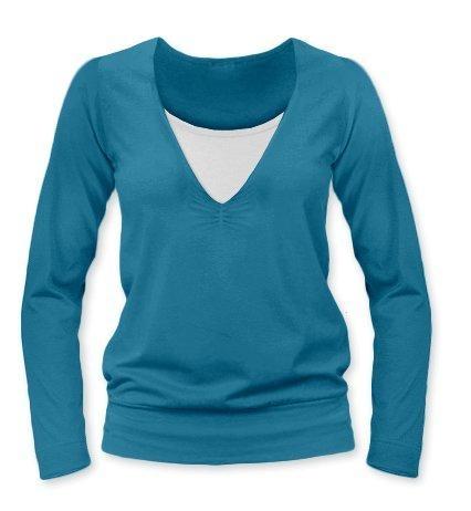 Dojčiace, tehotenské tričko Julie dl. rukáv - petrolejová