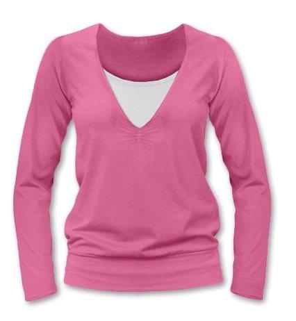 JOŽÁNEK Dojčiace, tehotenské tričko Julie dl. rukáv - ružová, L/XL