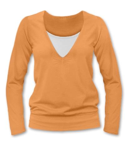 Dojčiace tehotenské tričko JULIE dl. rukáv - sv. oranžová