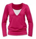 Dojčiace, tehotenské tričko Julie dl. rukáv - sýto ružová