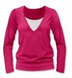 JOŽÁNEK Dojčiace, tehotenské tričko Julie dl. rukáv - sýto ružová, L/XL
