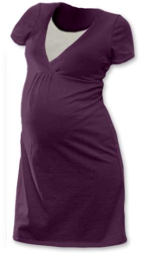 Tehotenská dojčiaca nočná košeľa  JOHANKA krátky rukáv - švestková