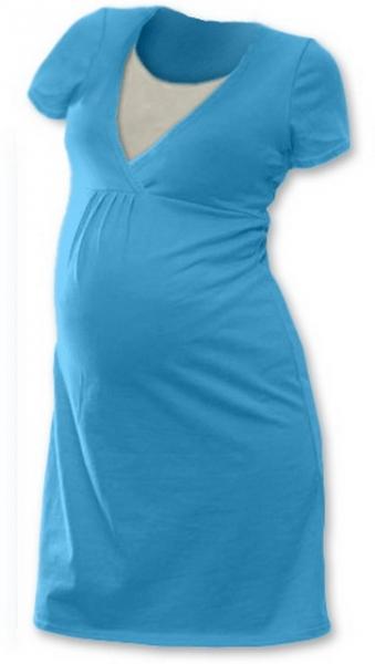 Tehotenská, dojčiace nočná košeľa JOHANKA krátky rukáv - tyrkys