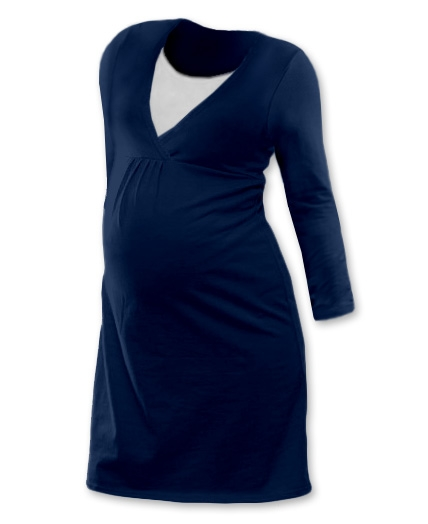 Tehotenská, dojčiace nočná košeľa JOHANKA dl. rukáv - jeans