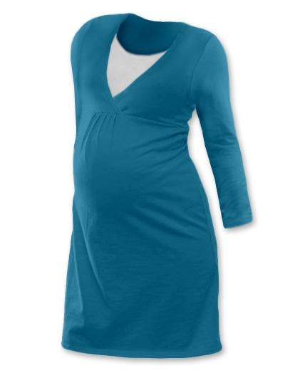 JOŽÁNEK Tehotenská, dojčiace nočná košeľa JOHANKA dl. rukáv -  tmavý tyrkys-#Velikosti těh. moda;S/M