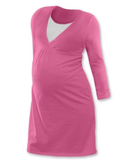 Tehotenská, dojčiace nočná košeľa JOHANKA dl. rukáv - ružová