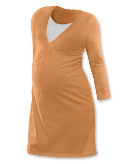 Tehotenská dojčiaca nočná košeľa  JOHANKA dl. rukáv - sv. oranžová