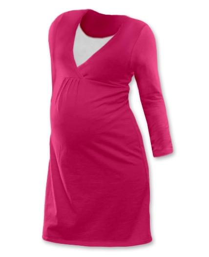Tehotenská dojčiaca nočná košeľa  JOHANKA dl. rukáv - sýta ružová