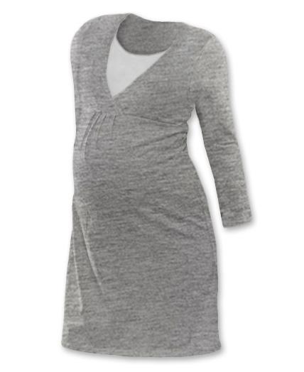 Tehotenská dojčiaca nočná košeľa  JOHANKA dl. rukáv - šedý melír