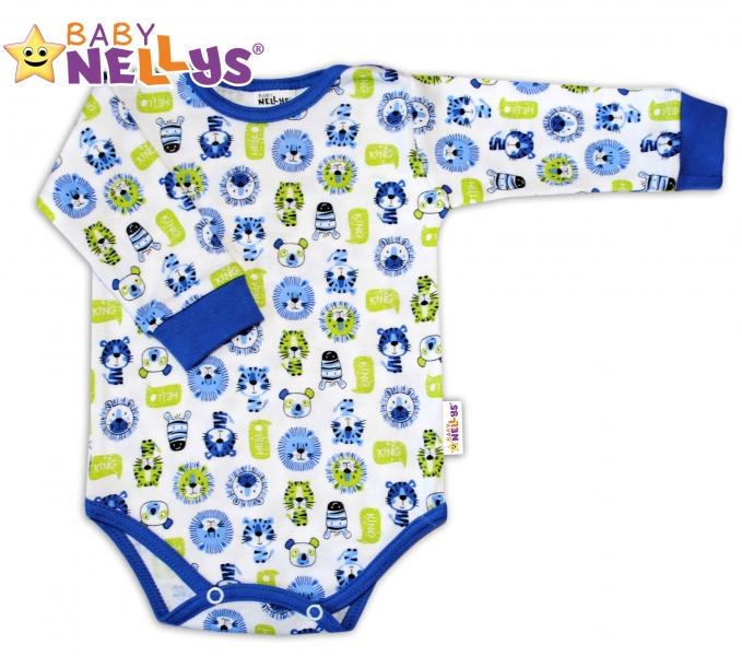 Body dl. rukáv Baby Nellys® - Hello LION - modrý lem