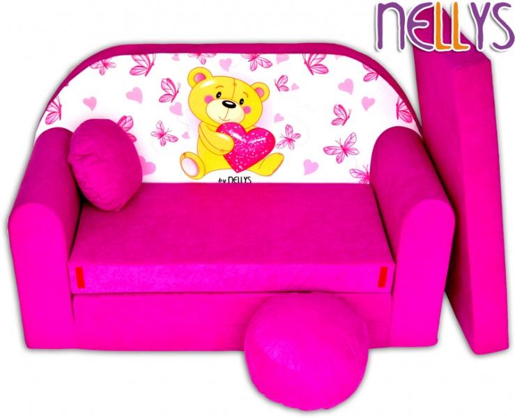 Rozkladacia detská pohovka Nellys Míša ružový
