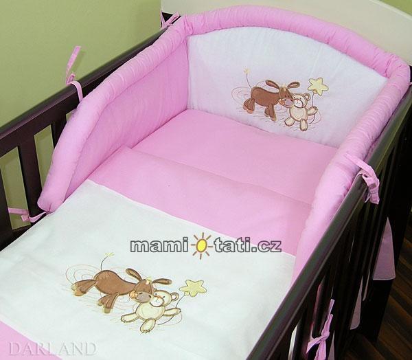 Bavlnené obliečky Oslík lux - ružový 120x90