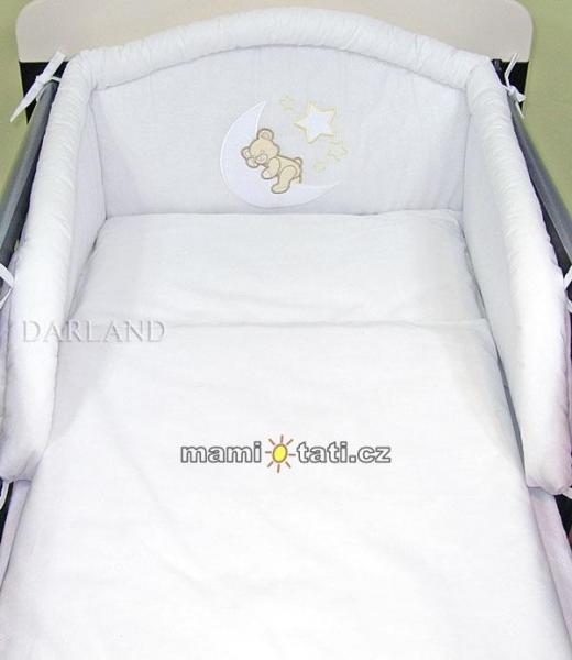 Mantinel s obliečkami lux Darland - Medvedík na mesiačiku 120 x 90 - biela