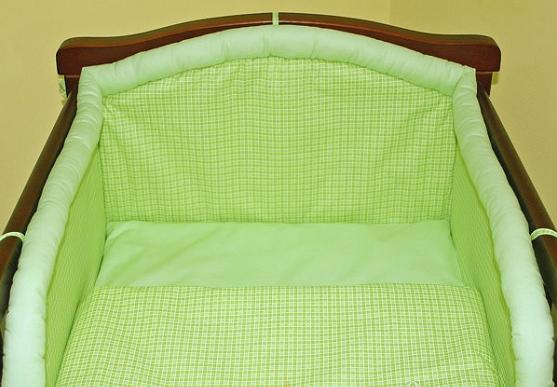 Mantinel s obliečkami - Kostička zelená 140x70