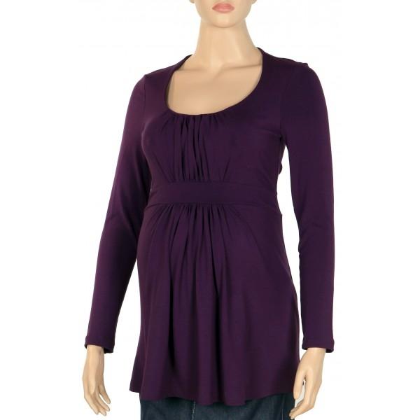 Tehotenské tričko  dl. rukáv KADA fialová