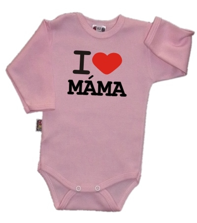 Body dl. rukáv Kolekcia I Love Mama, ružové, vel´. 68