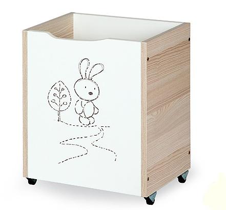 Klups Drevený box na hračky Safari - Zajačik cappuccino