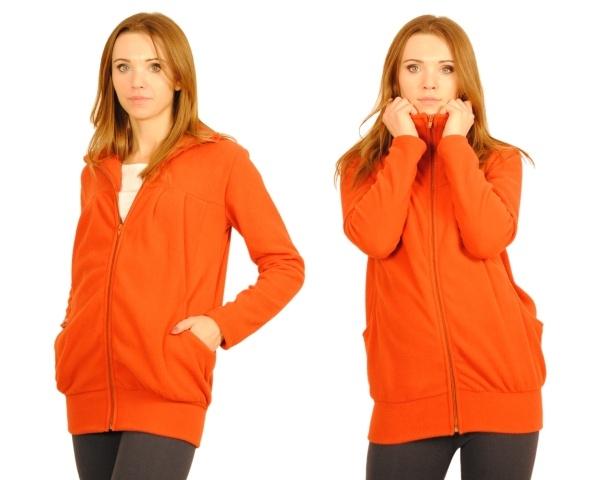 Tehotenská mikina  - cihlová/oranž