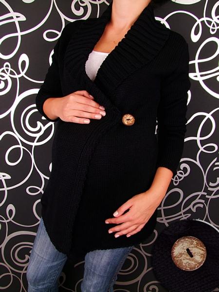 Těhotenský svetřík s knoflíkem BOBO  - černý barva: Černý melír