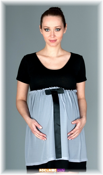 Elegantné tehotenské šaty so stuhou - čierne so sivou-M/L
