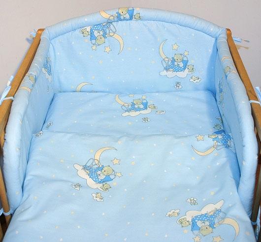 Mantinel s obliečkami - Mačičky v modrej