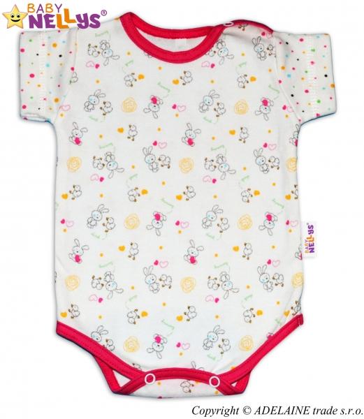 Body Kr. rukáv Baby Nellys ® - Králíček / bodka ružový