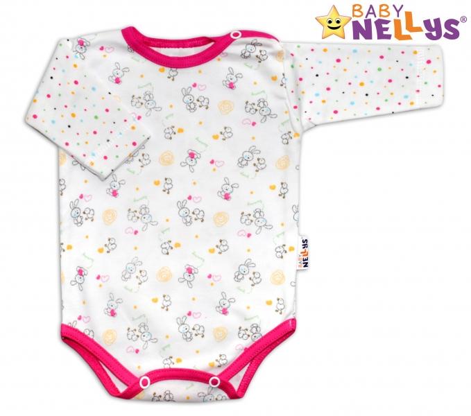 Body dl. rukáv Baby Nellys ® Králíček / bodka ružový