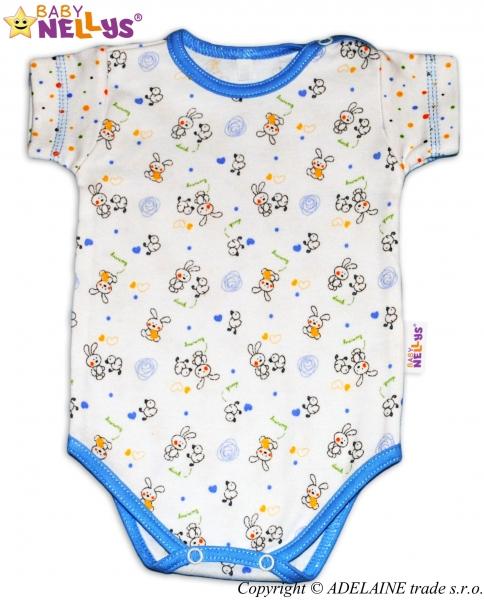 Body Kr. rukáv Baby Nellys ® - Králíček / bodka modrý