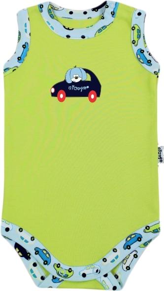 Body na ramienko - autíčka, zelené, VÝPREDAJ