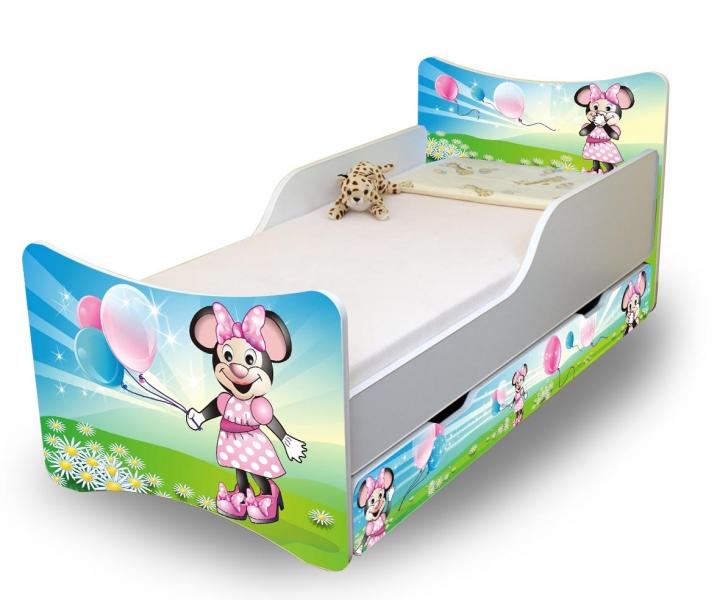 Detská posteľ a šuplík / y Myška s balónikom, 160x70