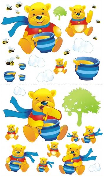 NELLYS Nálepky, dekoracie na stenu 70x100 cm - Medvedík s medom