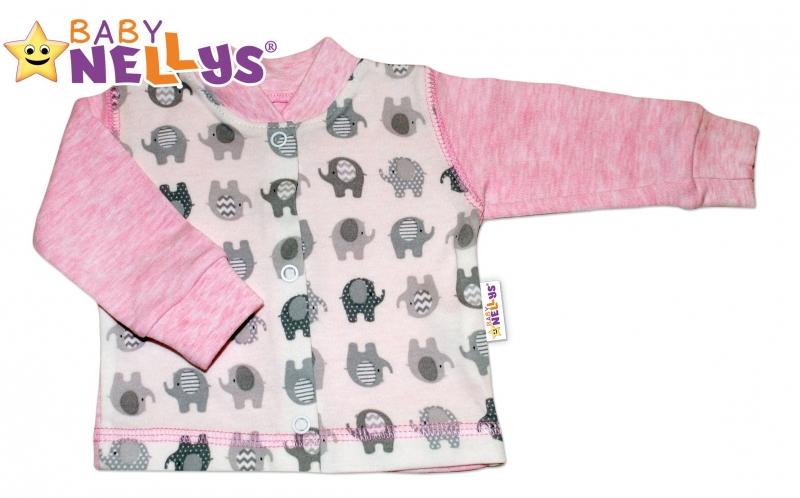Košieľka sloník Baby Nellys ® - ružový melírek, 56 (1-2m)
