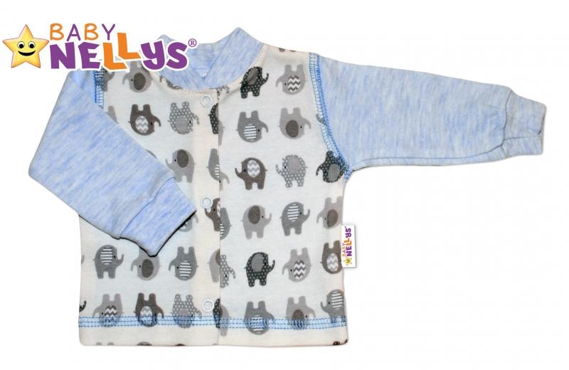 Košieľka sloník Baby Nellys ® - modrý melírek, 68 (4-6m)