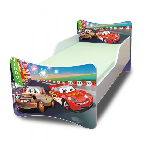 NELLYS Detská posteľ so zábranou  Autá 2. - 160x80 cm