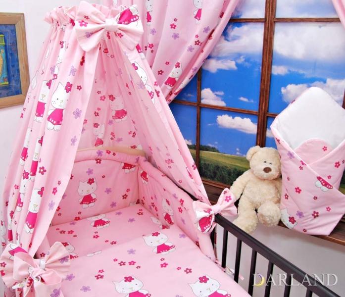 Mantinel + povlečenie + nebesá CL - Mačičky v ružovej