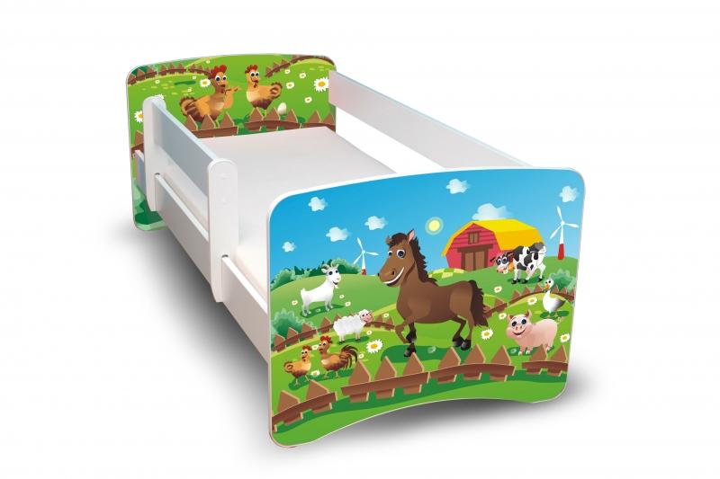 NELLYS Detská posteľ s bariérkou Farma, II., 160x80 cm