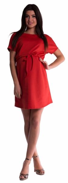 Tehotenské šaty s viazaním - tehlové-XL