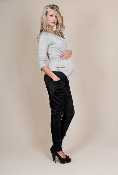 Be MaaMaa Tehotenské nohavice ALADINKY - Čierne