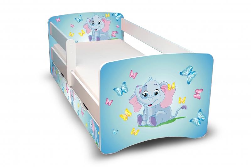 NELLYS Detská posteľ s bariérky a zásuvkou Filip - Sloník II. - 160x80 cm