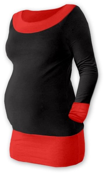 Tehotenská tunika DUO - čierna/červená