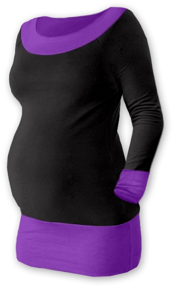 Tehotenská tunika DUO - čierna/fialová