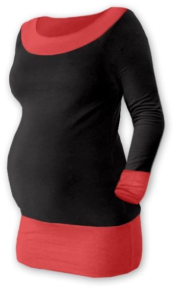 Tehotenská tunika DUO - čierna / lososověoranž