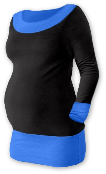 Tehotenská tunika DUO - čierna / modrá