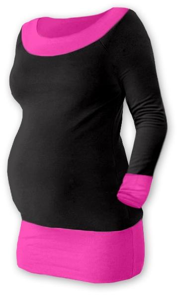 Tehotenská tunika DUO - čierna / ružová
